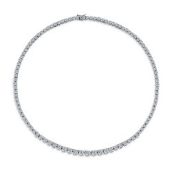 BLING Graduated Cubic Zirconia Rhodium Necklace