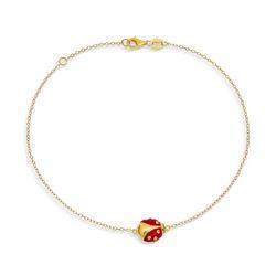 BLING Gold Plated Silver Ladybug Enamel Anklet