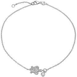 BLING Sterling Silver Nautical Turtle Anklet