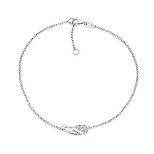 MoAndy Anklet Jewelry Gold Plated Base Womens Anklets Silver with White Zirconia Angel Wing