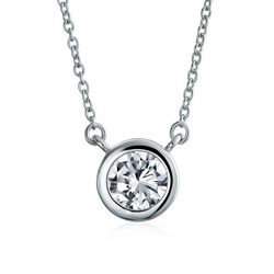 BLING Round Cubic Zirconia Pendant Necklace