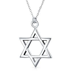 BLING Silver Star of David Pendant Necklace