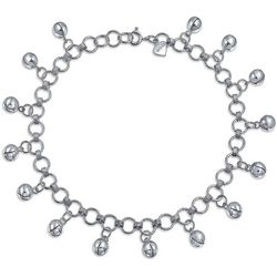 BLING Sterling Silver Jingle Bells Bead Anklet