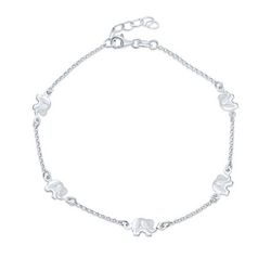 BLING Sterling Silver Lucky Elephant Anklet