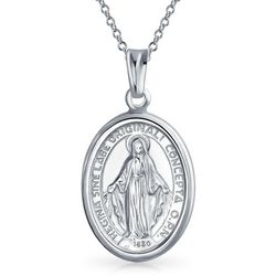BLING Mary Religious Pendant & 18'' Necklace