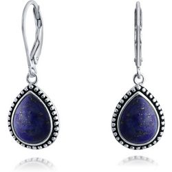 BLING Teardrop Lapis Lazuli Leverback Earrings