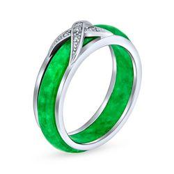 BLING Green Jade Cubic Zirconia Cross Ring
