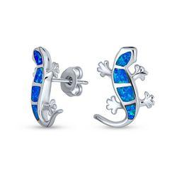 BLING Blue Opal Lizard Stud Earrings