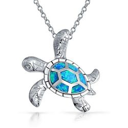 BLING Blue Opal Sea Turtle Pendant
