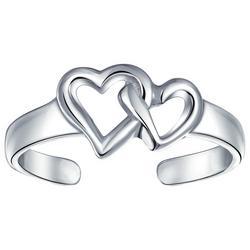 Sterling Silver Interlocking Hearts Toe Ring