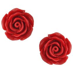 BLING Red Rose Carved Stud Earrings