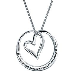 BLING Circle Heart Sisters Necklace