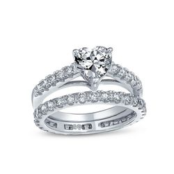 BLING Sterling Silver Pave Heart Wedding Ring Set
