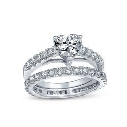 Sterling Silver Pave Heart Wedding Ring Set