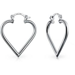 BLING Open Top Heart Sterling Silver Hoop Earrings