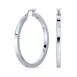 BLING Sterling Silver Square Flat Hoop Earrings