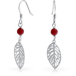 BLING Sterling Silver Red Bead Leaf Earrings