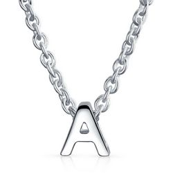 BLING Sterling Silver 'A' Initial Pendant Necklace