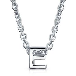 BLING Sterling Silver 'E' Initial Pendant Necklace