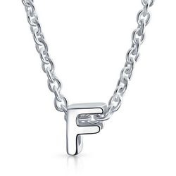 BLING Sterling Silver 'F' Initial Pendant Necklace
