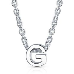 BLING Sterling Silver 'G' Initial Pendant Necklace