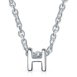 BLING Sterling Silver 'H' Initial Pendant Necklace