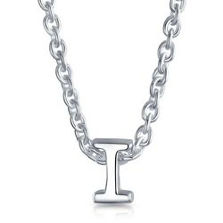 BLING Sterling Silver 'I' Initial Pendant Necklace