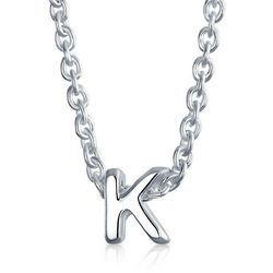 BLING Sterling Silver 'K' Initial Pendant Necklace