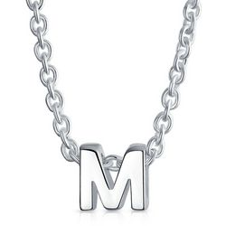 BLING Sterling Silver 'M' Initial Pendant Necklace