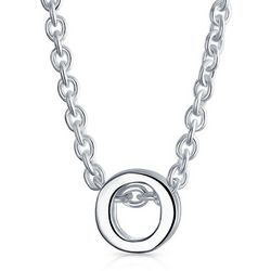 BLING Sterling Silver 'O' Initial Pendant Necklace