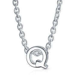 BLING Sterling Silver 'Q' Initial Pendant Necklace