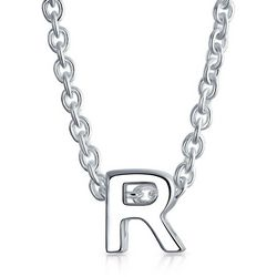 BLING Sterling Silver 'R' Initial Pendant Necklace