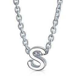 BLING Sterling Silver 'S' Initial Pendant Necklace