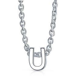 BLING Sterling Silver 'U' Initial Pendant Necklace