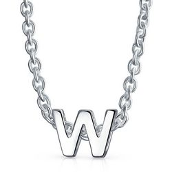 BLING Sterling Silver 'W' Initial Pendant Necklace