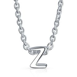 BLING Sterling Silver 'Z' Initial Pendant Necklace