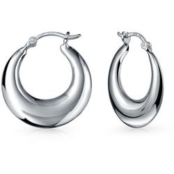 BLING Sterling Silver Graduated Cresent Hoops