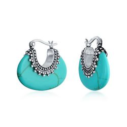 BLING Sterling Silver Bali Style Turquoise Hoops