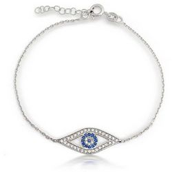 BLING Sterling Silver Evil Eye Bracelet