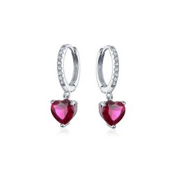 BLING Sterling Silver Ruby Heart Huggie Hoops