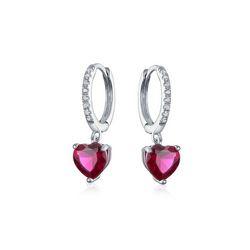 BLING Sterling Silver Ruby Heart Huggie Hoops