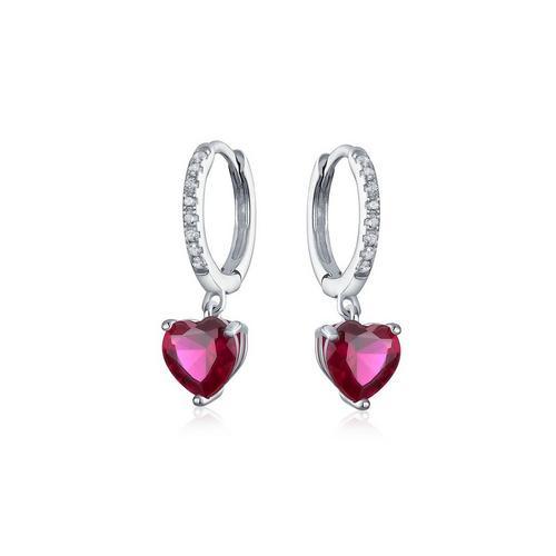 7fb82cde6d3 BLING Sterling Silver Ruby Heart Huggie Hoops