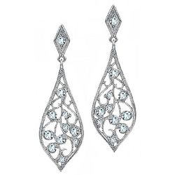 BLING Sterling Silver Filigree Teardrop Earrings