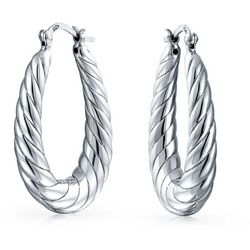 BLING Sterling Silver Twisted Shrimp Style Hoops