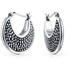 BLING Sterling Silver Graduate Cresent Hoops