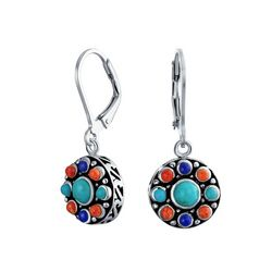 BLING Sterling Silver Lapis & Turquoise Earrings