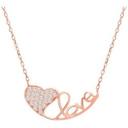Lesa Michele Heart & Love Rose Gold Necklace