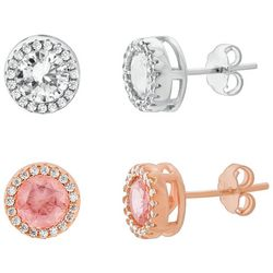 Lesa Michele Silver & Rose Gold Halo Earring