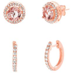Lesa Michele Rose Gold Halo & Huggie Earring Set