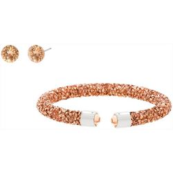 Crystal Energy Rose Gold Stud & Bracelet Set